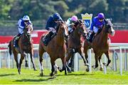 7 May 2021; Armory, with Ryan Moore up, left, races clear of, from right to left, Palavecino, with Martin Dwyer up, who finished third, Sangarius, with Richard Kingscote up, who finshed second, and Bangkok, with Silvestre de Sousa up, who finished fourth, on their way to winning The Melodi Media Huxley Stakes at Chester Racecourse, England. Photo by Hugh Routledge/Sportsfile