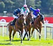 7 May 2021; Armory, with Ryan Moore up, left, races clear of,  Palavecino, with Martin Dwyer up, right, who finished third, and Sangarius, with Richard Kingscote up, who finshed second, on their way to winning The Melodi Media Huxley Stakes at Chester Racecourse, England. Photo by Hugh Routledge/Sportsfile