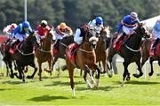 7 May 2021; Falcon Eight, with Frankie Dettori up, leads the field on their way to winning The tote+ Chester Cup Handicap Stakes at Chester Racecourse, England. Photo by Hugh Routledge/Sportsfile