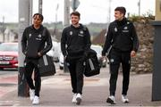 7 May 2021; Cork City players from left, Uniss Kargbo, Jack Baxter and Jamie Wynne arrive ahead of the SSE Airtricity League First Division match between Cork City and Wexford at Turners Cross in Cork. Photo by Michael P Ryan/Sportsfile