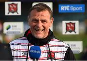 7 May 2021; Dundalk sporting director Jim Magilton is interviewed by RTÉ before the SSE Airtricity League Premier Division match between Dundalk and Sligo Rovers at Oriel Park in Dundalk, Louth. Photo by Ben McShane/Sportsfile