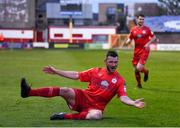7 May 2021; Ryan Brennan of Shelbourne celebrates after scoring his side's first goal during the SSE Airtricity League First Division match between Shelbourne and Athlone Town at Tolka Park in Dublin.  Photo by Harry Murphy/Sportsfile