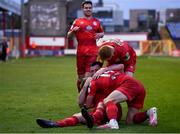 7 May 2021; Ryan Brennan of Shelbourne celebrates with Brian McManus and team-mates after scoring his side's first goal during the SSE Airtricity League First Division match between Shelbourne and Athlone Town at Tolka Park in Dublin.  Photo by Harry Murphy/Sportsfile