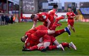 7 May 2021; Ryan Brennan of Shelbourne celebrates with team-mates after scoring his side's first goal during the SSE Airtricity League First Division match between Shelbourne and Athlone Town at Tolka Park in Dublin.  Photo by Harry Murphy/Sportsfile