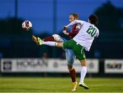 7 May 2021; David O'Leary of Cobh Ramblers in action against Eoin McPhillips of Cabinteely during the SSE Airtricity League First Division match between Cabinteely and Cobh Ramblers at Stradbrook Park in Blackrock, Dublin.  Photo by Eóin Noonan/Sportsfile