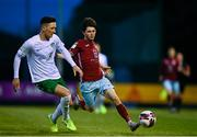 7 May 2021; Chris O'Reilly of Cobh Ramblers in action against Luke McWilliams of Cabinteely during the SSE Airtricity League First Division match between Cabinteely and Cobh Ramblers at Stradbrook Park in Blackrock, Dublin.  Photo by Eóin Noonan/Sportsfile