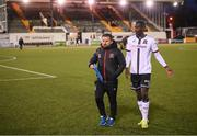7 May 2021; Dundalk coach Giuseppi Rossi and Wilfred Zahibo following the SSE Airtricity League Premier Division match between Dundalk and Sligo Rovers at Oriel Park in Dundalk, Louth. Photo by Stephen McCarthy/Sportsfile