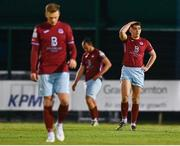 7 May 2021; Cian Murphy of Cobh Ramblers reacts after his side concede their first goal during the SSE Airtricity League First Division match between Cabinteely and Cobh Ramblers at Stradbrook Park in Blackrock, Dublin.  Photo by Eóin Noonan/Sportsfile