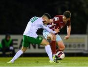 7 May 2021; Jake Hegarty of Cobh Ramblers in action against Luke McWilliams of Cabinteely during the SSE Airtricity League First Division match between Cabinteely and Cobh Ramblers at Stradbrook Park in Blackrock, Dublin.  Photo by Eóin Noonan/Sportsfile