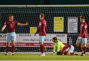 7 May 2021; Cian Murphy of Cobh Ramblers, left, reacts after his side concede their first goal during the SSE Airtricity League First Division match between Cabinteely and Cobh Ramblers at Stradbrook Park in Blackrock, Dublin.  Photo by Eóin Noonan/Sportsfile