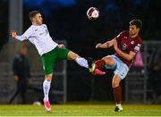 7 May 2021; Jake Hegarty of Cobh Ramblers in action against Dean Casey of Cabinteely during the SSE Airtricity League First Division match between Cabinteely and Cobh Ramblers at Stradbrook Park in Blackrock, Dublin.  Photo by Eóin Noonan/Sportsfile