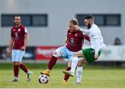 7 May 2021; David O'Leary of Cobh Ramblers in action against Kieran Marty Waters of Cabinteely during the SSE Airtricity League First Division match between Cabinteely and Cobh Ramblers at Stradbrook Park in Blackrock, Dublin.  Photo by Eóin Noonan/Sportsfile