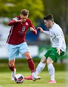 7 May 2021; Ian Turner of Cobh Ramblers in action against Dean Casey of Cabinteely during the SSE Airtricity League First Division match between Cabinteely and Cobh Ramblers at Stradbrook Park in Blackrock, Dublin.  Photo by Eóin Noonan/Sportsfile