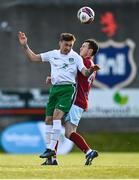 7 May 2021; Jordan Payne of Cabinteely in action against Lee Devitt of Cobh Ramblers during the SSE Airtricity League First Division match between Cabinteely and Cobh Ramblers at Stradbrook Park in Blackrock, Dublin.  Photo by Eóin Noonan/Sportsfile