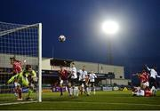 7 May 2021; Sligo Rovers goalkeeper Ed McGinty makes a save from a Wilfred Zahibo of Dundalk header during the SSE Airtricity League Premier Division match between Dundalk and Sligo Rovers at Oriel Park in Dundalk, Louth. Photo by Stephen McCarthy/Sportsfile