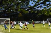 7 May 2021; Cabinteely goalkeeper saves a shot on goal by Killian Cooper of Cobh Ramblers during the SSE Airtricity League First Division match between Cabinteely and Cobh Ramblers at Stradbrook Park in Blackrock, Dublin.  Photo by Eóin Noonan/Sportsfile