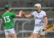 8 May 2021; Gearoid McInerney of Galway with Niall O'Brien of Westmeath after the Allianz Hurling League Division 1 Group A Round 1 match between Westmeath and Galway at TEG Cusack Park in Mullingar, Westmeath. Photo by Eóin Noonan/Sportsfile