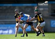 8 May 2021; Donal Burke of Dublin is tackled by Darragh Corcoran, left, and Martin Keoghan of Kilkenny during the Allianz Hurling League Division 1 Group B Round 1 match between Dublin and Kilkenny at Parnell Park in Dublin. Photo by Piaras Ó Mídheach/Sportsfile
