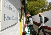 8 May 2021; Ronan Finn, left, and Joey O'Brien of Shamrock Rovers arrive before the SSE Airtricity League Premier Division match between St Patrick's Athletic and Shamrock Rovers at Richmond Park in Dublin. Photo by Harry Murphy/Sportsfile