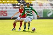 8 May 2021; Graham Burke of Shamrock Rovers in action against Jamie Lennon of St Patrick's Athletic during the SSE Airtricity League Premier Division match between St Patrick's Athletic and Shamrock Rovers at Richmond Park in Dublin. Photo by Harry Murphy/Sportsfile
