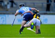8 May 2021; Danny Sutcliffe of Dublin is fouled by Darragh Corcoran of Kilkenny during the Allianz Hurling League Division 1 Group B Round 1 match between Dublin and Kilkenny at Parnell Park in Dublin. Photo by Piaras Ó Mídheach/Sportsfile