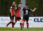 8 May 2021; Darragh Markey of Drogheda United celebrates after scoring his side's first goal with team-mates James Brown, left, and Chris Lyons, 9, during the SSE Airtricity League Premier Division match between Waterford and Drogheda United at RSC in Waterford. Photo by Ben McShane/Sportsfile