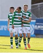 8 May 2021; Graham Burke of Shamrock Rovers celebrates with Liam Scales after scoring his side's first goal during the SSE Airtricity League Premier Division match between St Patrick's Athletic and Shamrock Rovers at Richmond Park in Dublin. Photo by Harry Murphy/Sportsfile