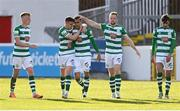 8 May 2021; Graham Burke of Shamrock Rovers, centre, celebrates with, from left, Liam Scales,  Gary O'Neill, Sean Hoare and Danny Mandroiu after scoring their side's first goal during the SSE Airtricity League Premier Division match between St Patrick's Athletic and Shamrock Rovers at Richmond Park in Dublin. Photo by Harry Murphy/Sportsfile