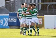 8 May 2021; Graham Burke of Shamrock Rovers, second right, celebrates with, from left, Gary O'Neill, Sean Hoare and Danny Mandroiu after scoring their side's first goal during the SSE Airtricity League Premier Division match between St Patrick's Athletic and Shamrock Rovers at Richmond Park in Dublin. Photo by Harry Murphy/Sportsfile
