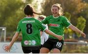 8 May 2021; Sadhbh Doyle, left, of Peamount United celebrates after scoring her side's first goal with team-mate Eleanor Ryan-Doyle during the SSE Airtricity Women's National League match between Peamount United and Athlone Town at PLR Park in Greenogue, Dublin. Photo by Matt Browne/Sportsfile