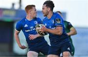 8 May 2021; Hugo Keenan of Leinster runs through to score his side's first try during the Guinness PRO14 Rainbow Cup match between Connacht and Leinster at The Sportsground in Galway.  Photo by Brendan Moran/Sportsfile