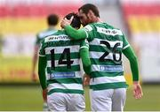 8 May 2021; Danny Mandroiu of Shamrock Rovers celebrates with team-mate Rory Gaffney after scoring his side's second goal during the SSE Airtricity League Premier Division match between St Patrick's Athletic and Shamrock Rovers at Richmond Park in Dublin. Photo by Harry Murphy/Sportsfile