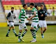 8 May 2021; Lee Grace, right, and Graham Burke of Shamrock Rovers celebrate following their side's victory in the SSE Airtricity League Premier Division match between St Patrick's Athletic and Shamrock Rovers at Richmond Park in Dublin. Photo by Harry Murphy/Sportsfile