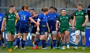 8 May 2021; James Tracy of Leinster, centre, celebrates with team-mate Jack Conan after scoring their side's third try during the Guinness PRO14 Rainbow Cup match between Connacht and Leinster at The Sportsground in Galway.  Photo by Brendan Moran/Sportsfile