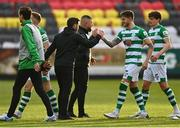 8 May 2021; Shamrock Rovers manager Stephen Bradley and Lee Grace of Shamrock Rovers following their side's victory in the SSE Airtricity League Premier Division match between St Patrick's Athletic and Shamrock Rovers at Richmond Park in Dublin. Photo by Harry Murphy/Sportsfile