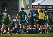 8 May 2021; Josh van der Flier of Leinster, centre, celebrates as Andrew Porter, hidden, scores their side's fifth try during the Guinness PRO14 Rainbow Cup match between Connacht and Leinster at The Sportsground in Galway.  Photo by David Fitzgerald/Sportsfile