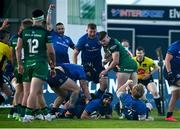8 May 2021; Scott Fardy of Leinster scores his side's sixth try during the Guinness PRO14 Rainbow Cup match between Connacht and Leinster at The Sportsground in Galway.  Photo by David Fitzgerald/Sportsfile
