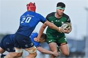 8 May 2021; Tom Daly of Connacht is tackled by Rory O'Loughlin and Josh van der Flier of Leinster during the Guinness PRO14 Rainbow Cup match between Connacht and Leinster at The Sportsground in Galway.  Photo by Brendan Moran/Sportsfile