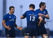 8 May 2021; Jordan Larmour, left, Garry Ringrose, centre, and Ryan Baird of Leinster celebrate following the Guinness PRO14 Rainbow Cup match between Connacht and Leinster at The Sportsground in Galway.  Photo by David Fitzgerald/Sportsfile