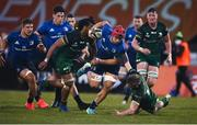 8 May 2021; Josh van der Flier of Leinster breaks through the tackle from Conor Fitzgerald of Connacht during the Guinness PRO14 Rainbow Cup match between Connacht and Leinster at The Sportsground in Galway.  Photo by David Fitzgerald/Sportsfile