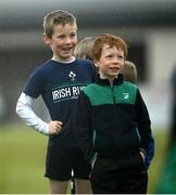 9 May 2021; Harry McHugh, left, and Michael Ledwith during Longford Minis rugby training at Longford RFC in Longford. Photo by Ramsey Cardy/Sportsfile
