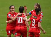 9 May 2021; Noelle Murray of Shelbourne, 10, celebrates her goal with team-mates, from left, Jessica Ziu, Jamie Finn and Emily Whelan during the SSE Airtricity Women's National League match between Treaty United and Shelbourne at Jackman Park in Limerick. Photo by Eóin Noonan/Sportsfile