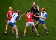 9 May 2021; Referee Sean Cleere throws in the sliotar as Cork players Billy Hennessy, 8, and Darragh Fitzgibbon of Cork battle for possession with Calum Lyons, 9, and Darragh Lyons of Waterford during the Allianz Hurling League Division 1 Group A Round 1 match between Cork and Waterford at Páirc Ui Chaoimh in Cork. Photo by Stephen McCarthy/Sportsfile