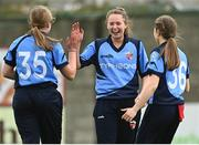 9 May 2021; Louise Little of Typhoons, centre, celebrates catching out Caoimhe McCann of Scorchers with team-mates during the third match of the Arachas Super 50 Cup between Scorchers and Typhoons at Rush Cricket Club in Rush, Dublin. Photo by Harry Murphy/Sportsfile