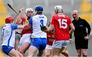 9 May 2021; Patrick Horgan of Cork is tackled by Darragh Lyons, left, and Conor Prunty of Waterford during the Allianz Hurling League Division 1 Group A Round 1 match between Cork and Waterford at Páirc Ui Chaoimh in Cork. Photo by Piaras Ó Mídheach/Sportsfile