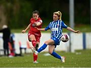 9 May 2021; Emily Whelan of Shelbourne in action against Cara Griffin of Treaty United during the SSE Airtricity Women's National League match between Treaty United and Shelbourne at Jackman Park in Limerick. Photo by Eóin Noonan/Sportsfile