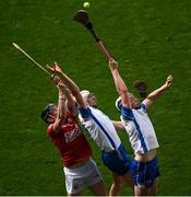 9 May 2021; Damien Cahalane of Cork in action against Jack Fagan, centre, and Stephen Bennett of Waterford during the Allianz Hurling League Division 1 Group A Round 1 match between Cork and Waterford at Páirc Ui Chaoimh in Cork. Photo by Stephen McCarthy/Sportsfile