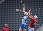 9 May 2021; Jack Fagan of Waterford in action against Tim O'Mahony of Cork during the Allianz Hurling League Division 1 Group A Round 1 match between Cork and Waterford at Páirc Ui Chaoimh in Cork. Photo by Piaras Ó Mídheach/Sportsfile