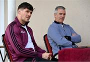 10 May 2021; Shane Walsh, left, and Galway manager Padraic Joyce during a Galway Football press conference at Loughgeorge in Galway. Photo by Sam Barnes/Sportsfile