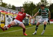 8 May 2021; Ronan Coughlan of St Patrick's Athletic in action against Sean Gannon of Shamrock Rovers during the SSE Airtricity League Premier Division match between St Patrick's Athletic and Shamrock Rovers at Richmond Park in Dublin. Photo by Eóin Noonan/Sportsfile